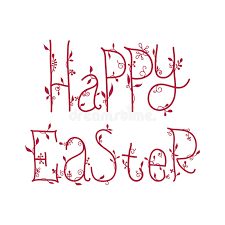 happy easter greeting card with floral decorative font quotes stock