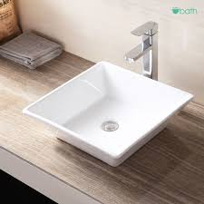 Vessel Vanity Bathroom Square Porcelain Sink Ceramic Vessel Vanity Basin Bowl W