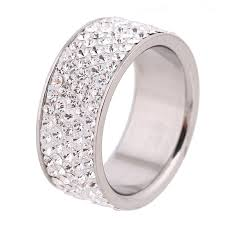 crystal jewelry rings images 5 row lines clear crystal jewelry fashion stainless steel jpg