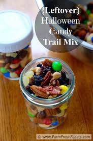 farm fresh feasts trail mix with leftover halloween candy for
