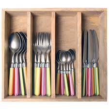 stripe light coloured mix cutlery set 24 pieces in wooden tray