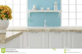 white and blue kitchen design stock photo image 45943914