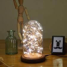 childrens bedroom fairy lights modern led line light table lamp wood glass desk lamp transparent