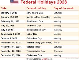 federal holidays 2028
