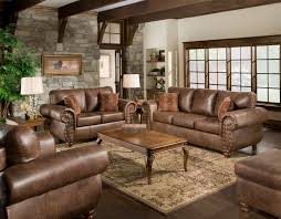 Brown Leather Living Room Set Brown Leather Sofa With Brown Cushions And Brown Wooden Base Plus