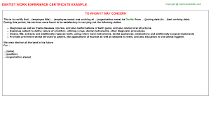 dentist work experience certificate