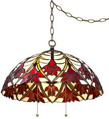 Plug In Hanging Lights by Robert Louis Tiffany Ruby Flora 19