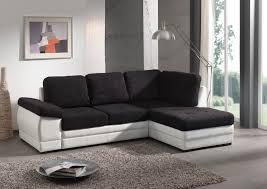 canapé moderne convertible canapé d angle contemporain convertible en tissu coloris noir blanc