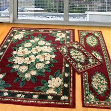 manhattan magnolia burgundy three piece rug set united weavers