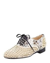 christian louboutin freddy studded flat oxford in red lyst
