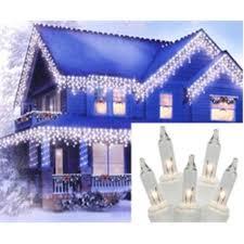 set of 100 clear mini icicle lights white wire