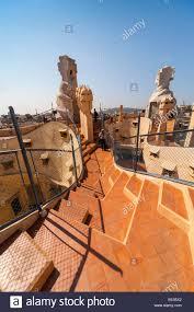 roof of la pedrera the stone quarry or casa milà an undulating