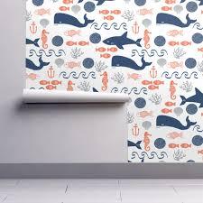 Shark Home Decor Ocean Boys Orange Navy Grey Kids Wallpaper By Charlottewinter