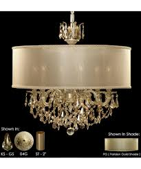 Chandelier With Black Shades American Brass And Crystal Ch6522 Llydia 24 Inch Wide 6 Light