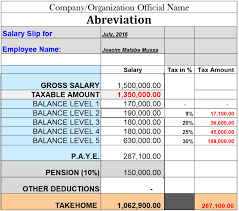 Home Depot Pro Desk Salary Tanzania Paye And Pension Salary Calculation Sample 2016 17 Home