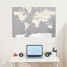 large grey a1 decorative map of the world print wall art home