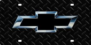 chevy bowtie ib black and chrome license plate license tag