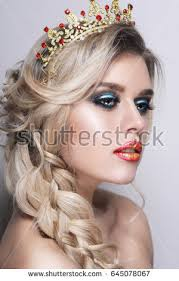portrait bright makeup crown queen stock photo 645078067