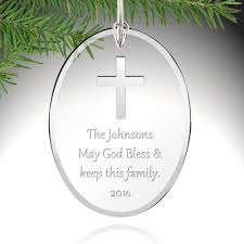 silver cross glass ornament