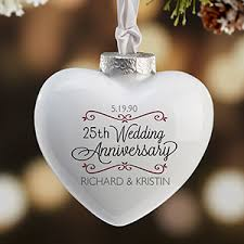 personalized heart anniversary christmas ornament porcelain
