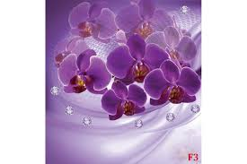 murals 3d composition with purple orchids and diamonds wall murals 3d composition with purple orchids and diamonds