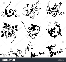 ornamental scroll style design elements illustrated stock vector