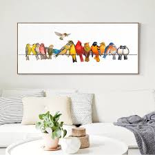 Cartoon Wall Painting In Bedroom Large Art Canvas Decoration Bedroom Decor Colorful Birds Animal