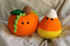pumpkin candy corn percy the pumpkin and cameron the candy corn amigurumi plush