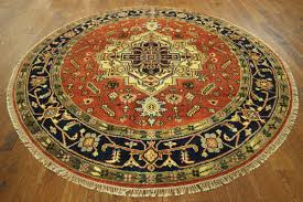 traditional oriental 8 u0027 round red heriz serapi hand knotted wool