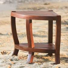 solid teak corner shower bench chair with shelf