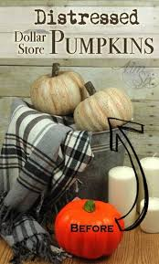 distressed dollar store pumpkins with a crackle finish farmhouse