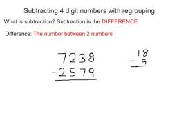 subtracting 4 digit numbers with regrouping youtube
