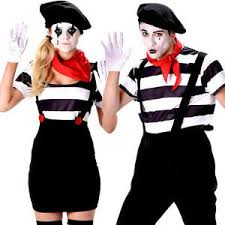 Mime Halloween Costumes Mime Artist Adults Fancy Dress French Street Circus Mens Womens