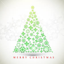 stylish text of merry with green design of tree on