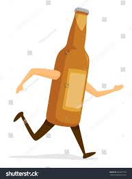 cartoon beer bottle cartoon illustration beer bottle on run stock vector 667627192