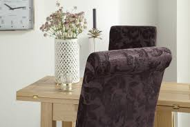 Aubergine Dining Chairs Buy Serene Kingston Aubergine Floral Fabric Dining Chair With Oak