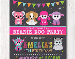 beanie boo birthday party invites custom
