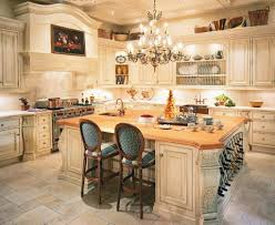beautiful kitchen with luxury french chandelier french country