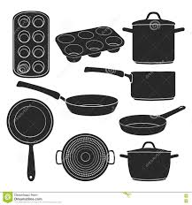 a set of silhouettes of kitchen utensils black silhouettes of