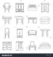 home interiors collection furniture home interior set icons outline stock vector 552367675