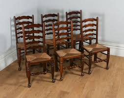 Antique Oak Ladder Back Chairs Antique Set Of 6 Ash U0026 Elm Ladder Back Country Farmhouse Dining