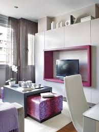 Tv Table Ideas Small Studio Apartment Decorating Idea With Purple Lovely Tv