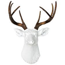 deer head faux deer head wall mount white and bronze