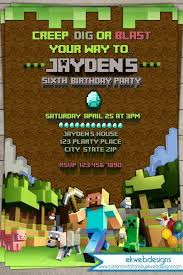 minecraft birthday invitations minecraft birthday invitation digital printable file printable
