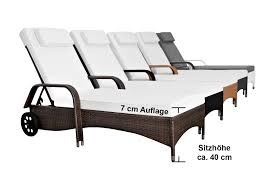Gartenmobel Rattan Weis 2x 160 Kg Tragfähige Poly Rattan Gartenliege Sonnenliege