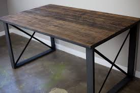 reclaimed wood table with metal legs made dining table desk vintage reclaimed wood steel industrial dma