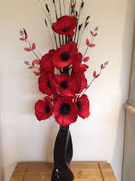 poppies flowers artificial silk flower arrangement in poppies in black modern