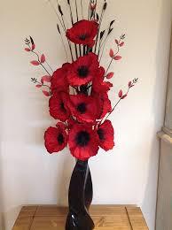 Vase With Red Poppies Artificial Silk Flower Arrangement In Red Poppies In Black Modern