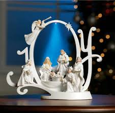 Outdoor Lighted Nativity Sets For Sale Lighted Joy Nativity Scene Holiday Sculpture From Collections Etc