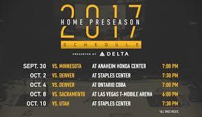 lakers release 2017 18 preseason schedule los angeles lakers